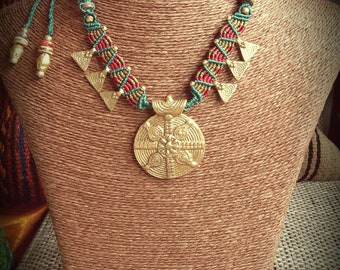Colorfull tribal macrame necklace