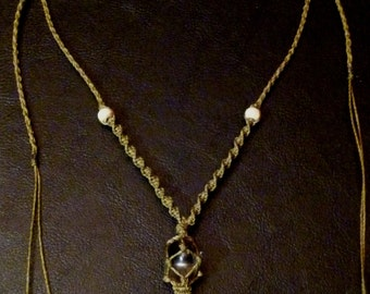 Unique macramé necklace with lovely Ammonite and smoky quartz