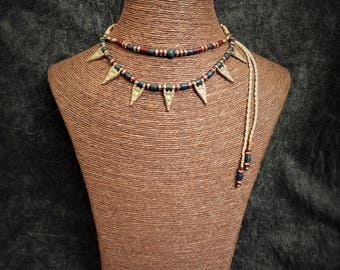 Tribal, boho macramé necklace