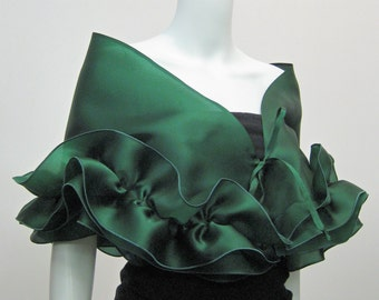 wedding shawl, evening shawl, ruffle shawl,  silk shawl, wedding scarf, cover ups , bridesmaids scarf, unique gifts for women, satin scarf,