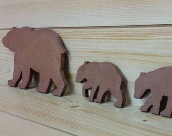 Brown Bear Family - Bear Family of 3 - Bear Wall Art- Bear Woodwork - Wooden Bear Silhouette - Animal Art - Bear Family Art