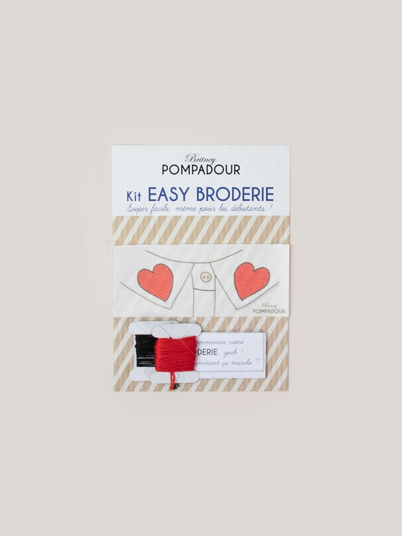 Heart embroidery kit for shirt collar by Britney Pompadour Easy Broderie