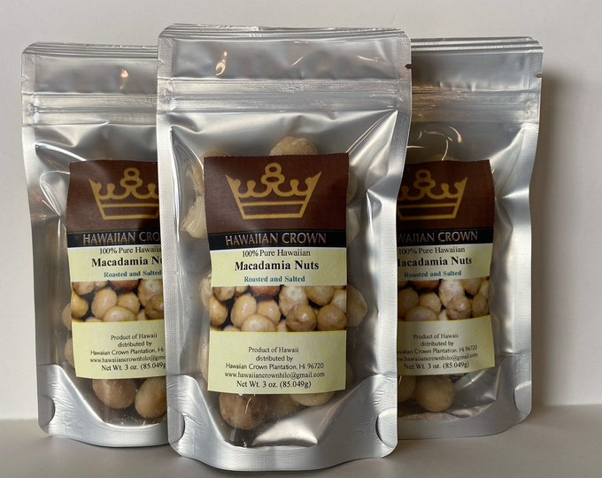 Wholesale Bulk 3 Bags Salted Hawaiian Macadamia Nuts- 3oz