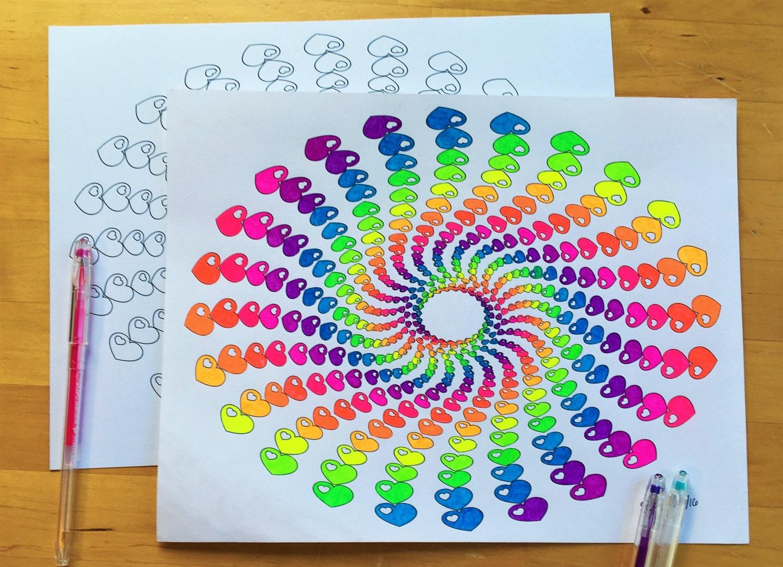 Coloriage Adulte Spirale.Telecharger Coeur Spirale Coloriage Design Mignon Et Funky Etsy
