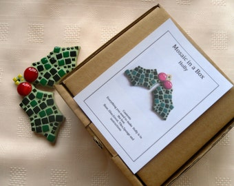 Christmas Holly Mosaic Kit/ Christmas Tree Decoration/DIY Mosaic Kit/ Christmas Fun/ Traditional holy