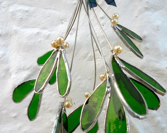 Handmade stained glass kissing mistletoe Christmas decorations recycled materials traditional festive gift, green leaves white berries