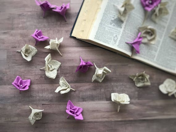 Table Decor Paper Flowers Table Flowers Book Page Flowers Etsy