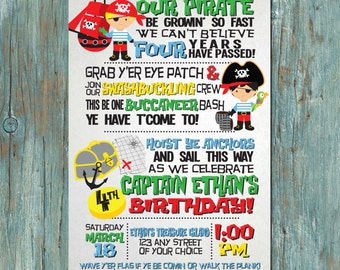 Pirate Birthday Party Invitation for Boy or Girl