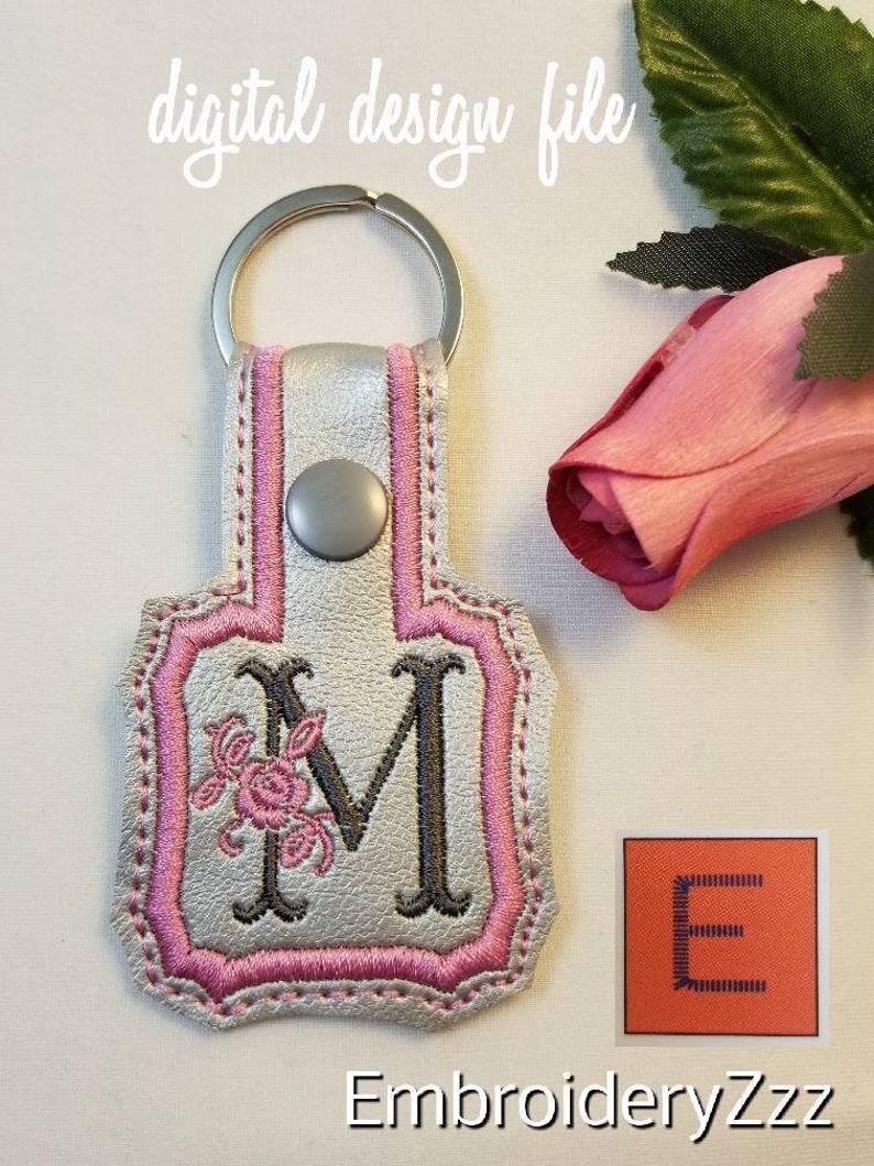d93ff4ad408af Monogram ITH full alphabet A-Z snap tab key fob DST PES