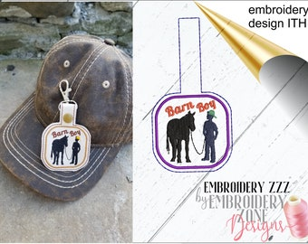 Horse key fob embroidery design. ITH snap tab horse lover key chain, farm life template, equine friends, pes in the hoop pattern barn boy