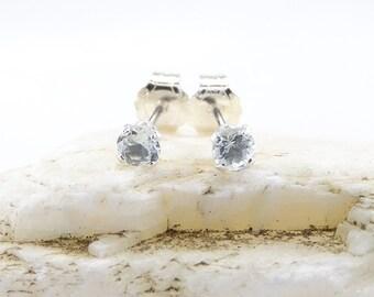 Aquamarine earrings, round earrings aquamarine, sterling silver stud earrings 3 mm, small stone
