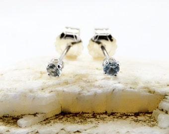 Aquamarine earrings, round earrings aquamarine, sterling silver stud earrings 2 mm, small stone