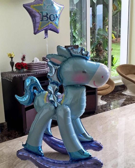 Giant Baby Boy Blue Rocking Horse Airwalker Foil Balloon