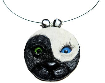 Yin Yang necklace,  Yoga necklace, Cat necklace, Energy necklace, Yin Yang couple, Yin Yang, Face pendant, Polymer Clay, Black & White