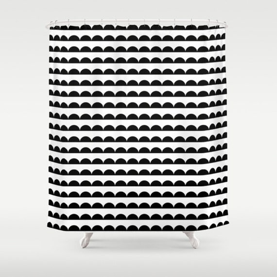 Scallop Shower Curtain Black And White Modern