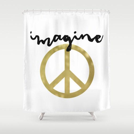 Imagine Peace Shower Curtain Sign Boho
