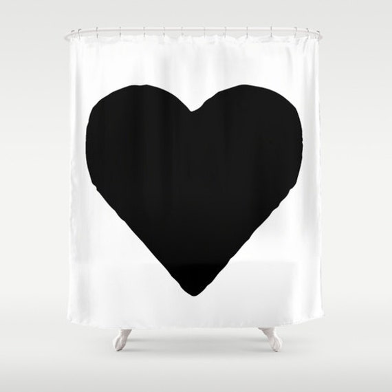 Heart Shower Curtain Black And White Modern