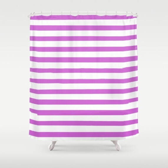 Purple Striped Shower Curtain Girls Bathroom Decor