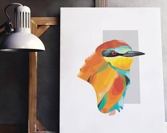 European Bee Eater Print, Illustration, Giclee Art Print
