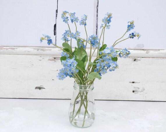 Faux Flowers Silk Flowers Forget Me Nots Faux Bouquet Etsy