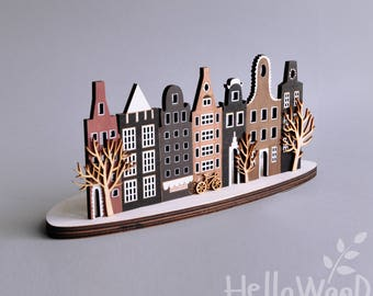 Amsterdam Decor Wooden House Candlestick candle holder