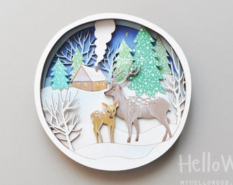 CHRISTMAS woodland Wall Hanging Decorations Deer Wooden Wreath
