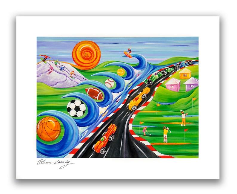 Baby Shower Sports Dream Wall Art D\u00e9cor Art Print Limited Edition of 250 by Elana Mokady Fine Art Birthday Watercolor Print