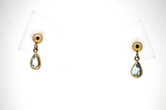 Aquamarine Drop Earrings / Vintage Aquamarine Drop