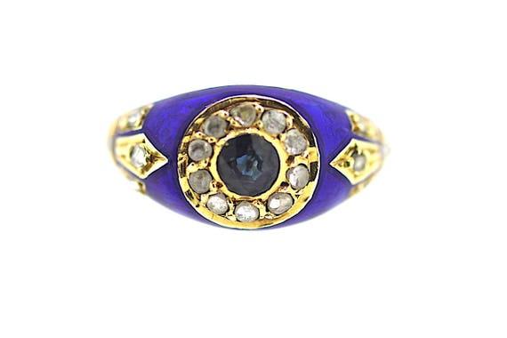 Victorian Sapphire Diamond Ring / Blue Enamel Sapp