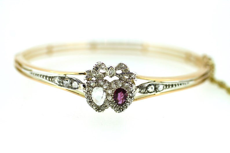Victorian Ruby Diamond Luckenbooth Heart Bangle /Genuine Victorian Diamond  Ruby Bangle /Natural Heart Bangle /Antique Diamond Ruby Bangle