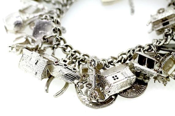 Full Charm Bracelet / Silver Charm Bracelet / Vin… - image 3