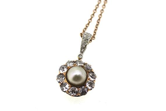 Victorian Pearl Pendant / Diamond Pearl Necklace /