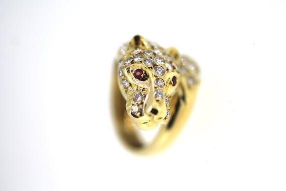 Vintage Gold Diamond Ruby Leopard Ring / Diamond L