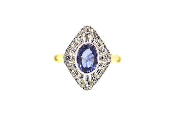 British Art Deco Sapphire Ring / Diamond Sapphire