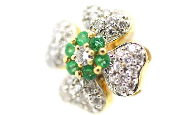 Vintage Emerald Diamond Clover Studs / Emerald Clo
