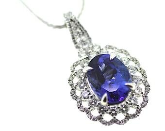 Tanzanite Pendant / Tanzanite Diamond Pendant /Birthstone Pendant /Tanzanite Necklace /Oval Tanzanite Necklace / Tanzanite Necklace