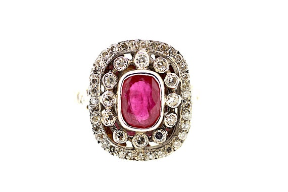 15ct Victorian Ruby Diamond Ring / Antique Ruby Ri