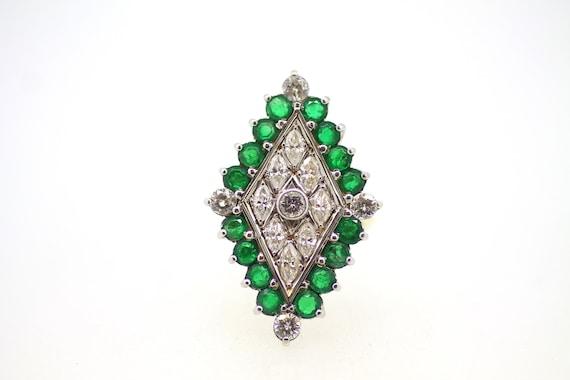 Vintage Emerald Diamond Ring / Diamond Shape Emer… - image 1