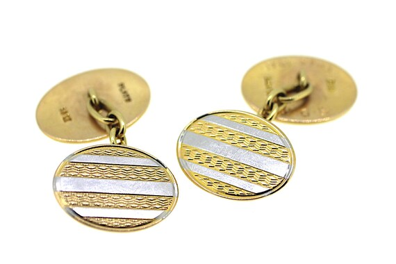 Vintage Platinum Cufflinks / Vintage Gold Cufflink
