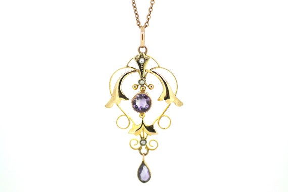 Edwardian Amethyst and Seed Pearl Pendant / Antiqu