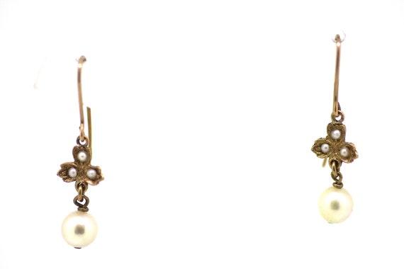 Victorian Pearl Drop Earrings / Victorian Gold Pea