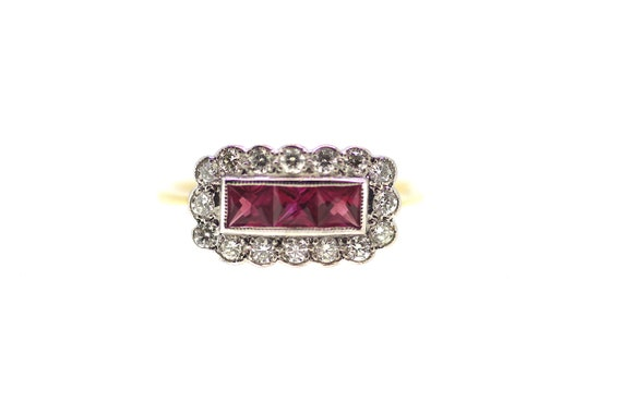 Art Deco Revival Ring / Ruby Art Deco Style Ring /