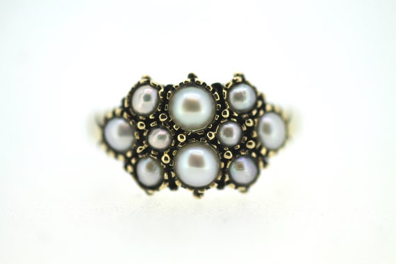 Victorian Revival Seed Pearl Ring / Gold Pearl Rin