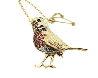 Vintage Ruby Robin Brooch / Vintage Bird Brooch / Ruby, Sapphire, Diamond Brooch / Gold Robin Brooch / Vintage Animal Brooch /Bird Jewellery