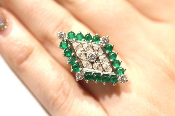 Vintage Emerald Diamond Ring / Diamond Shape Emer… - image 8