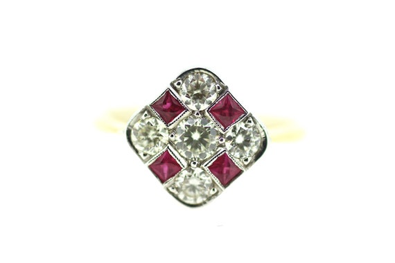 Art Deco Ruby Diamond Ring / Art Deco Chequer Ring