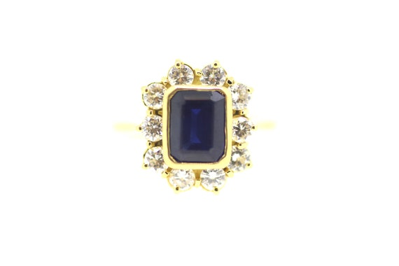 Sapphire Diamond Ring / Sapphire Solitaire Ring /