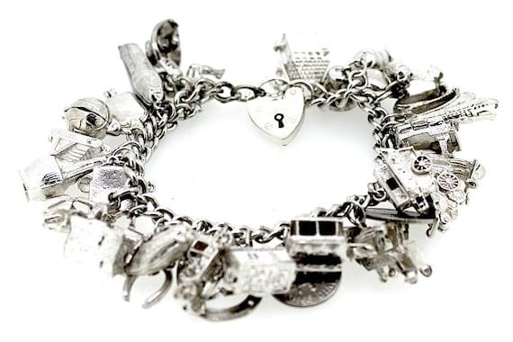 Full Charm Bracelet / Silver Charm Bracelet / Vin… - image 1