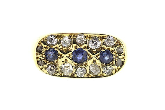 Art Deco Sapphire Ring / Art Deco Diamond Ring / A