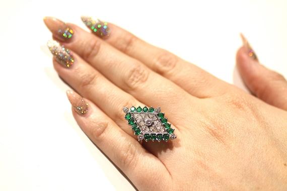 Vintage Emerald Diamond Ring / Diamond Shape Emer… - image 7